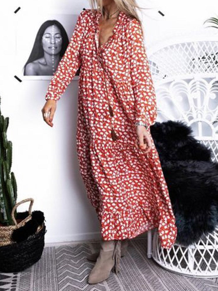 Ankle-Length V-Neck Long Sleeve Pullover A-Line Dress