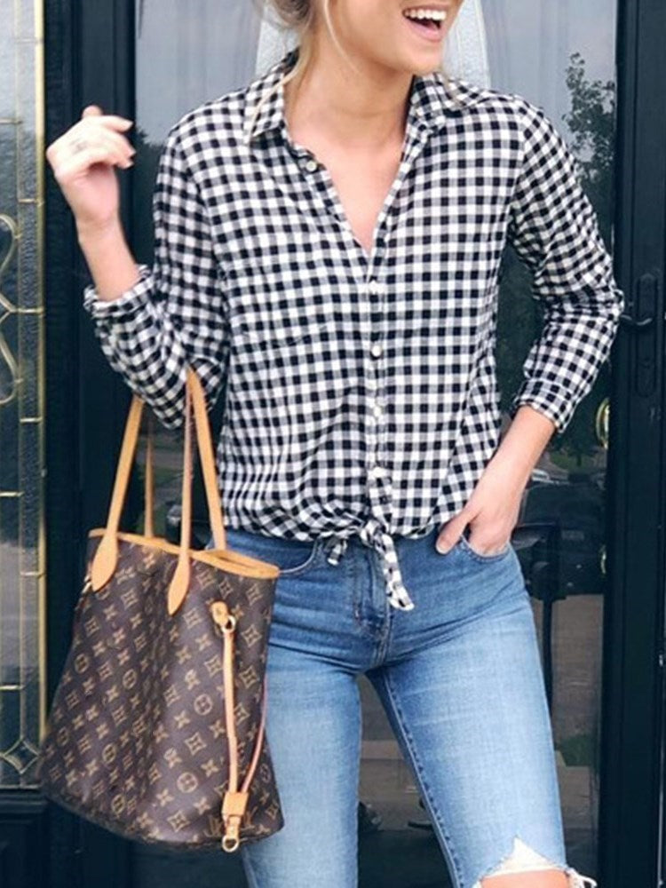 Lapel Plaid Regular Mid-Length Long Sleeve Blouse