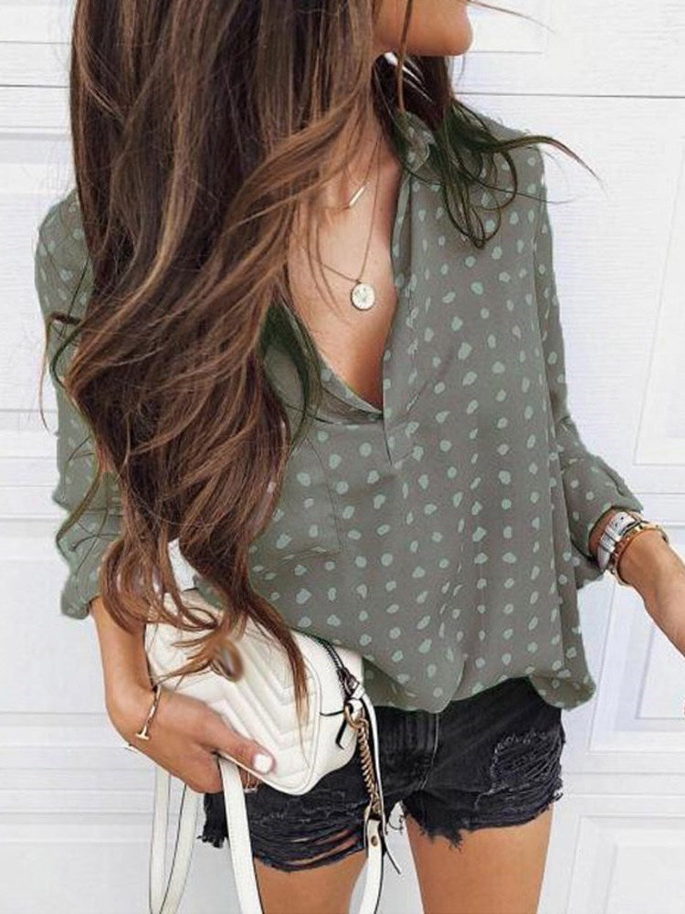 Print Lapel Regular Standard Three-Quarter Sleeve Blouse