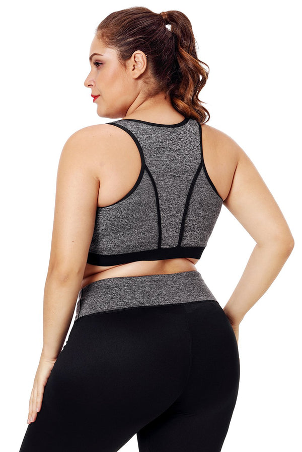 PlusMill Plus Size Mesh Sports Bra Top Fitness Tops Women Yoga Bra Tops High Support Shake Proof Stretch Brassiere Gym Sportswear