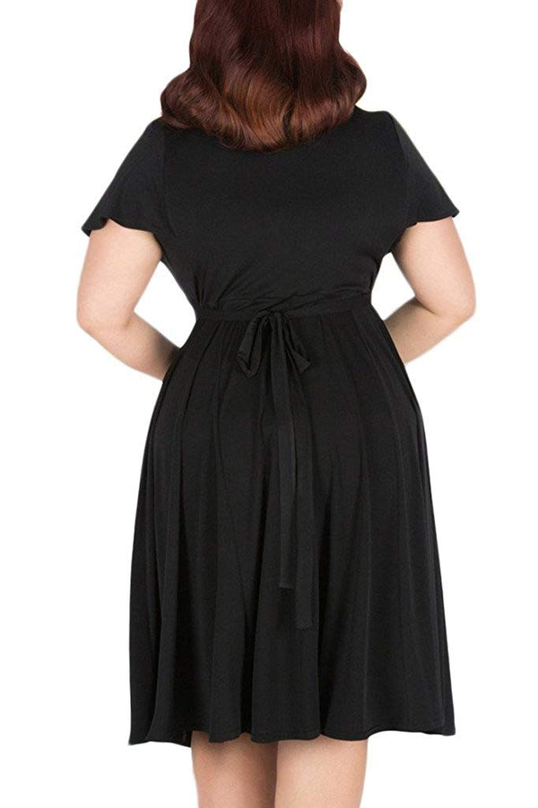 Nemidor Women's V-Neckline Stretchy Casual Midi Plus Size Black Dress