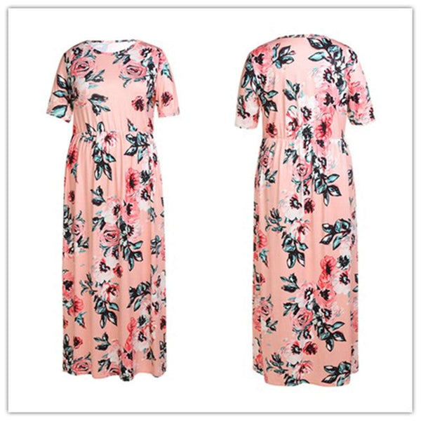Mioloe Women's Casual Floral Print Short Sleeve Round Neck Soft Vintage Plus Size Maxi Dress