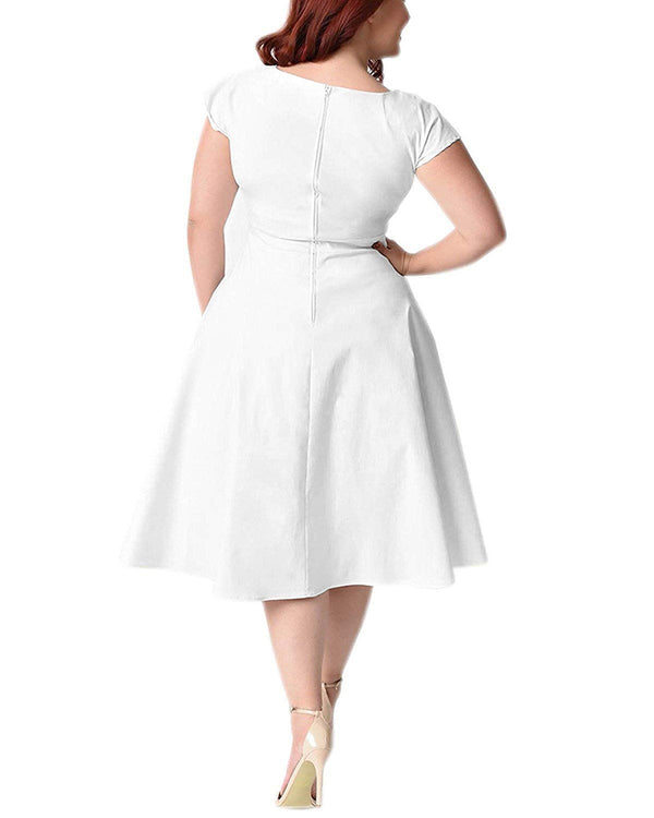 BIUBIU Women's 50s Vintage Swing Dress Bridesmaid Cocktail Plus Size White Dress