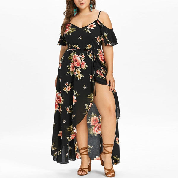 Plus Size Maxi Dress Casual Cold Shoulder Short Sleeve Boho Floral Printed