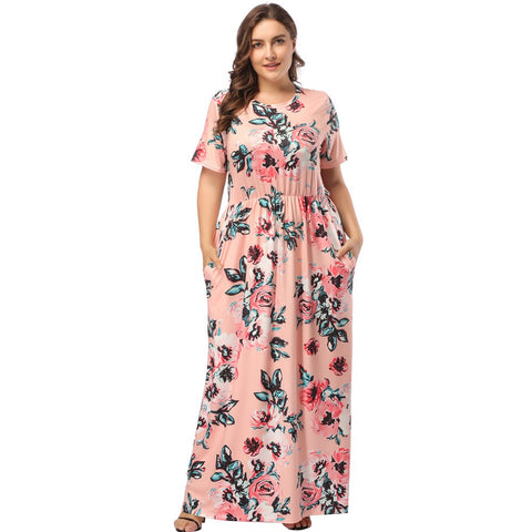 4505040ff06fe Mioloe Women s Casual Floral Print Short Sleeve Round Neck Soft Vintage Plus  Size Maxi Dress