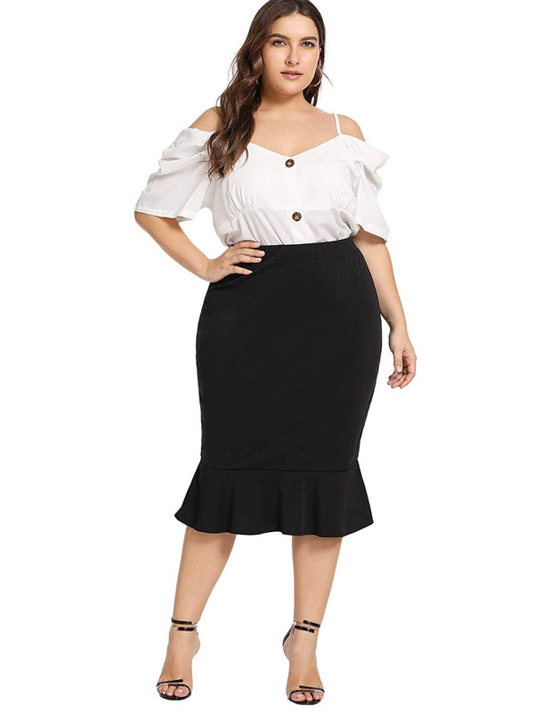 Romwe Women's Plus Size Solid Stretchy High Waist Office Business Mermaid Skirt