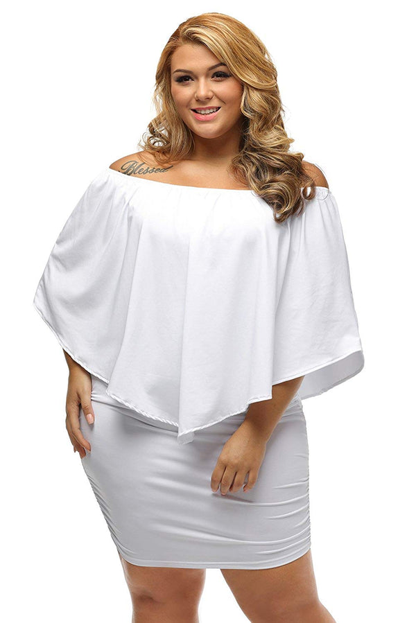 Miss Chica's Women's Off The Shoulder Ruffle Frill Plus Size White Dress