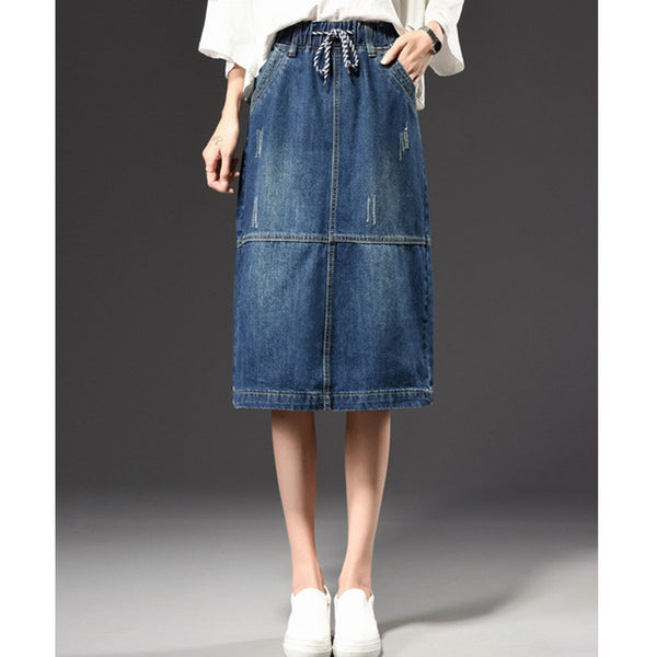 Women's Fashion Integrated Waist Denim Pencil Skirt Lady Plus Size A-line Slim Skirt Summer Keen-Length Cowboy Skirts