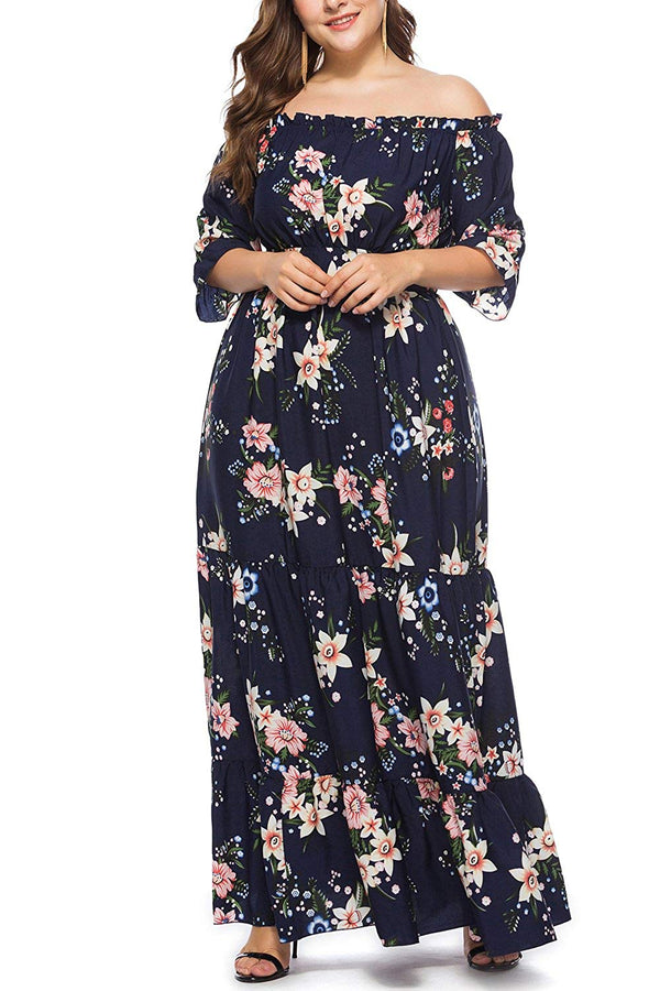 Ladies Floral Print Chiffon Dress Off The Shoulder Ruffle Plus Size Maxi Dress