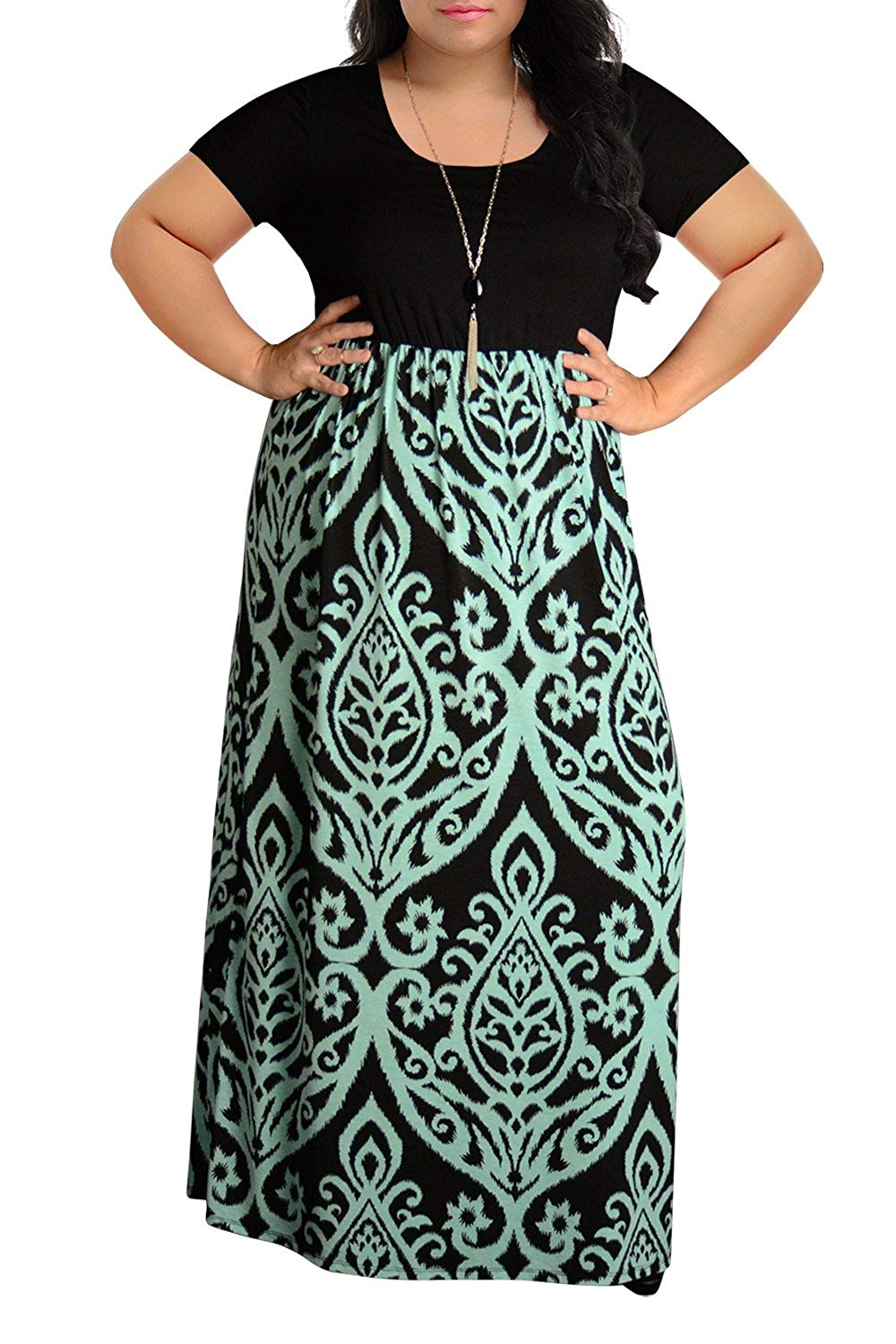 84b2cb4b47e Nemidor Women s Chevron Print Summer Short Sleeve Plus Size Maxi Dress