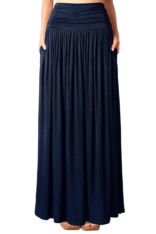 DJT Women's Pleated High Waist Plus Size Stretchy Plain Jersey Flared Swing Pocket Long Maxi Skirt