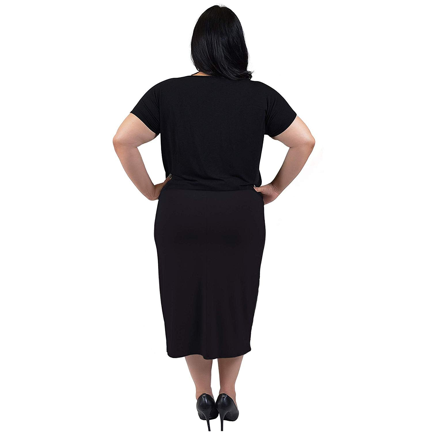 Stretch is Comfort Women's Plus Size Comfortable Soft Stretch MIDI Skirt