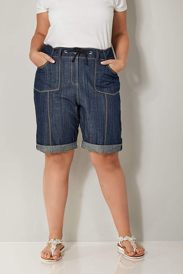 Yours Women's Plus Size Indigo Denim Roll-up Utility Shorts With Ribbed Elasticated Wa