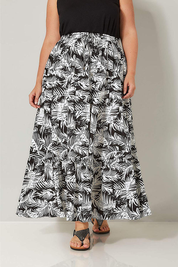 Yours Clothing Women's Plus Size Leaf Print Tiered Maxi Skirt