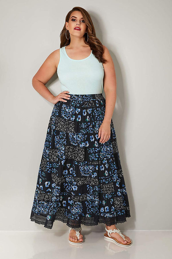Women's Plus Size Floral Print Tiered Maxi Skirt with Lace Trim Hem