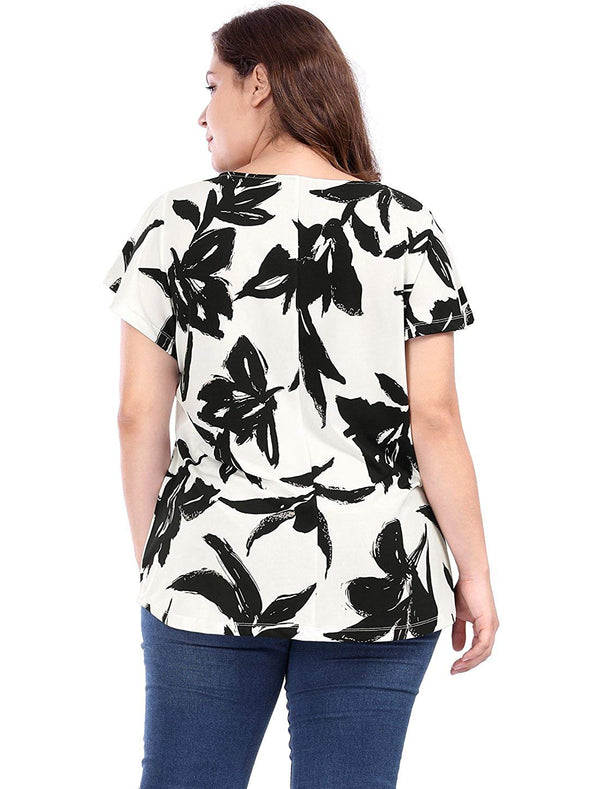 Agnes Orinda Women's Plus Size Round Neck Short Sleeves Leaf Prints Top