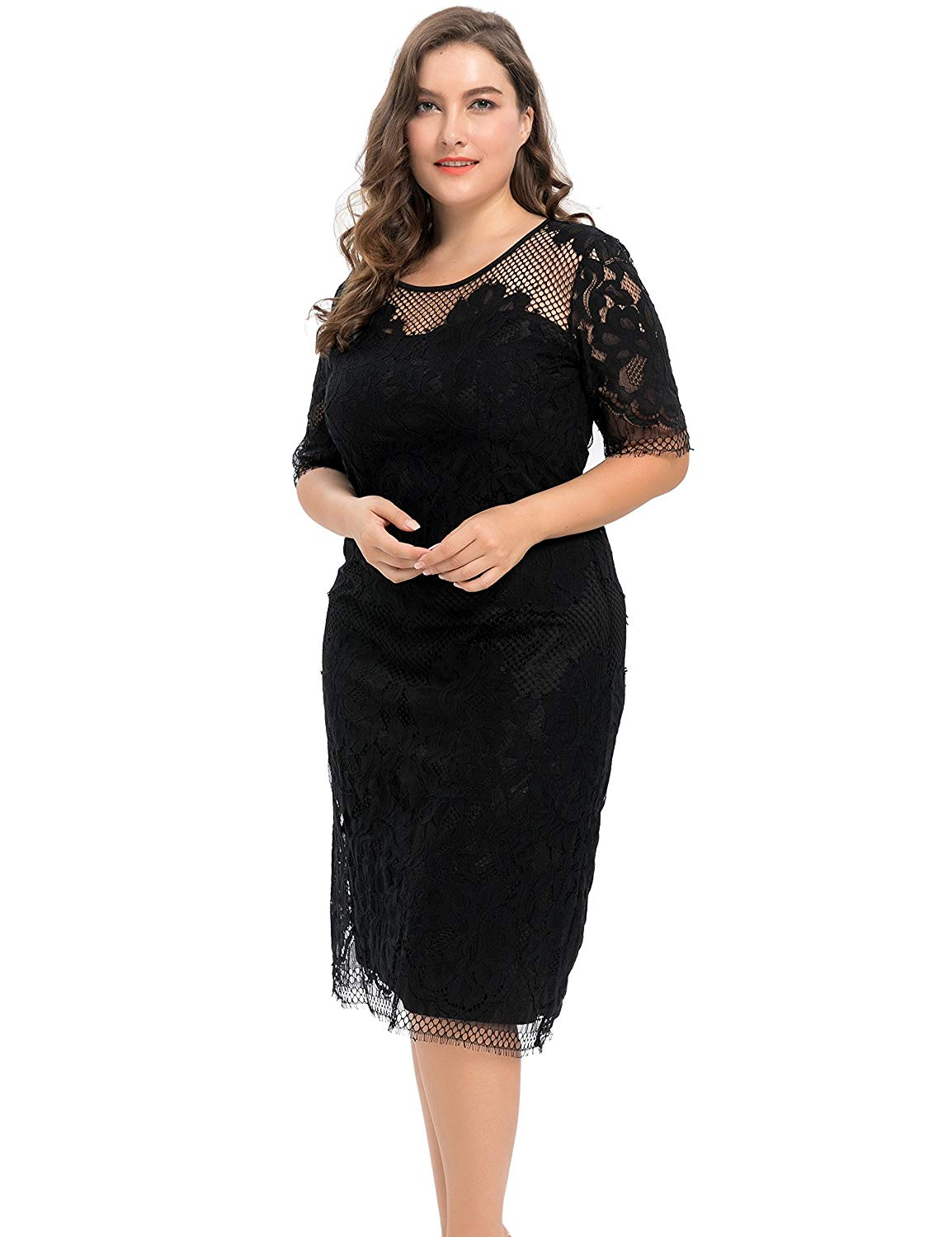 b6334e0be501 Chicwe Women's Plus Size Lined Floral Lace Dress - Knee Length Casual Party Cocktail  Dress