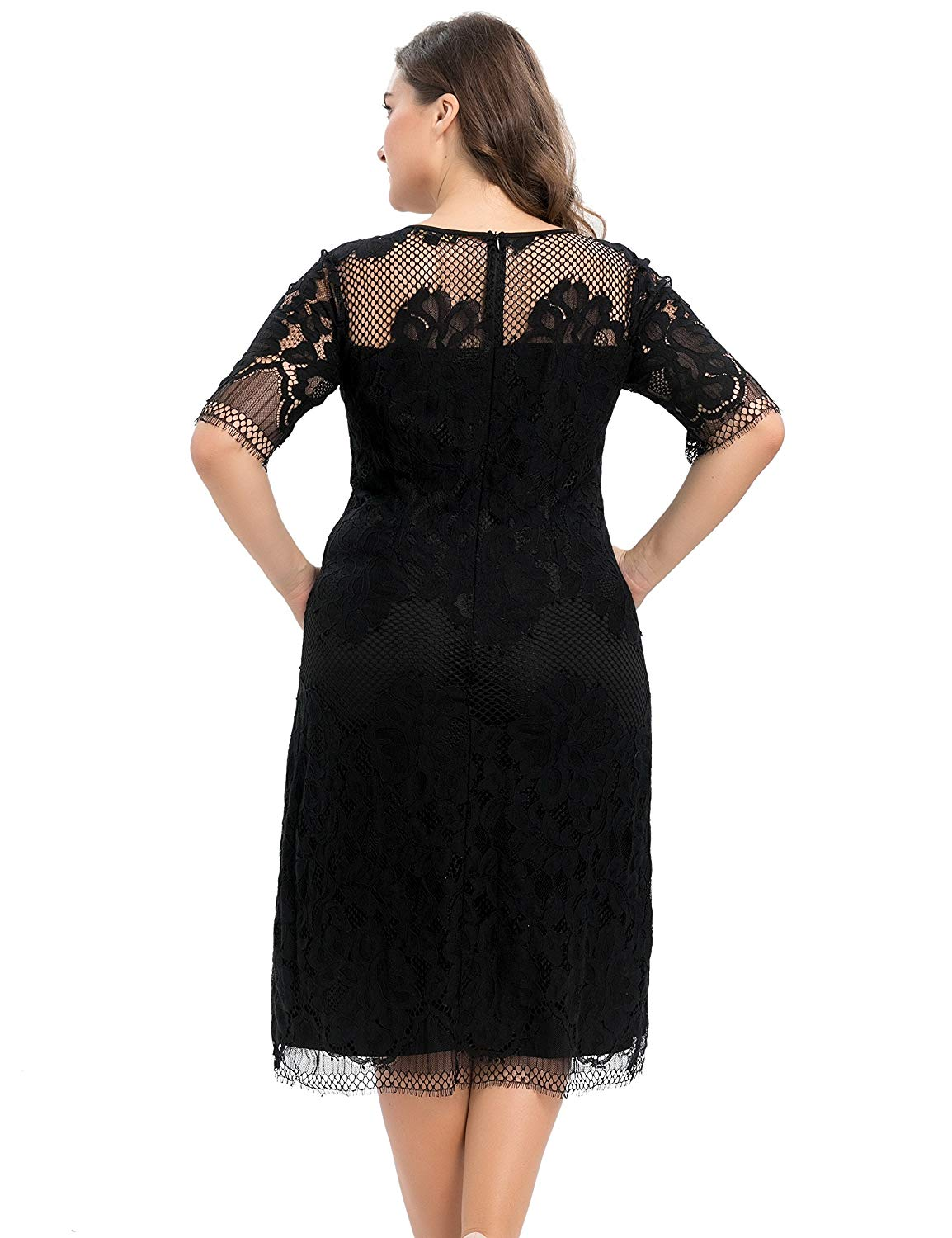 91e1d1e560 Chicwe Women s Plus Size Lined Floral Lace Dress - Knee Length Casual Party  Cocktail Dress