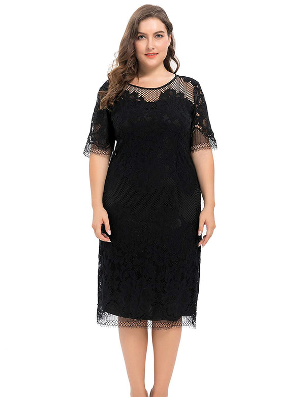 Chicwe Women's Plus Size Lined Floral Lace Dress - Knee Length Casual Party Cocktail Dress
