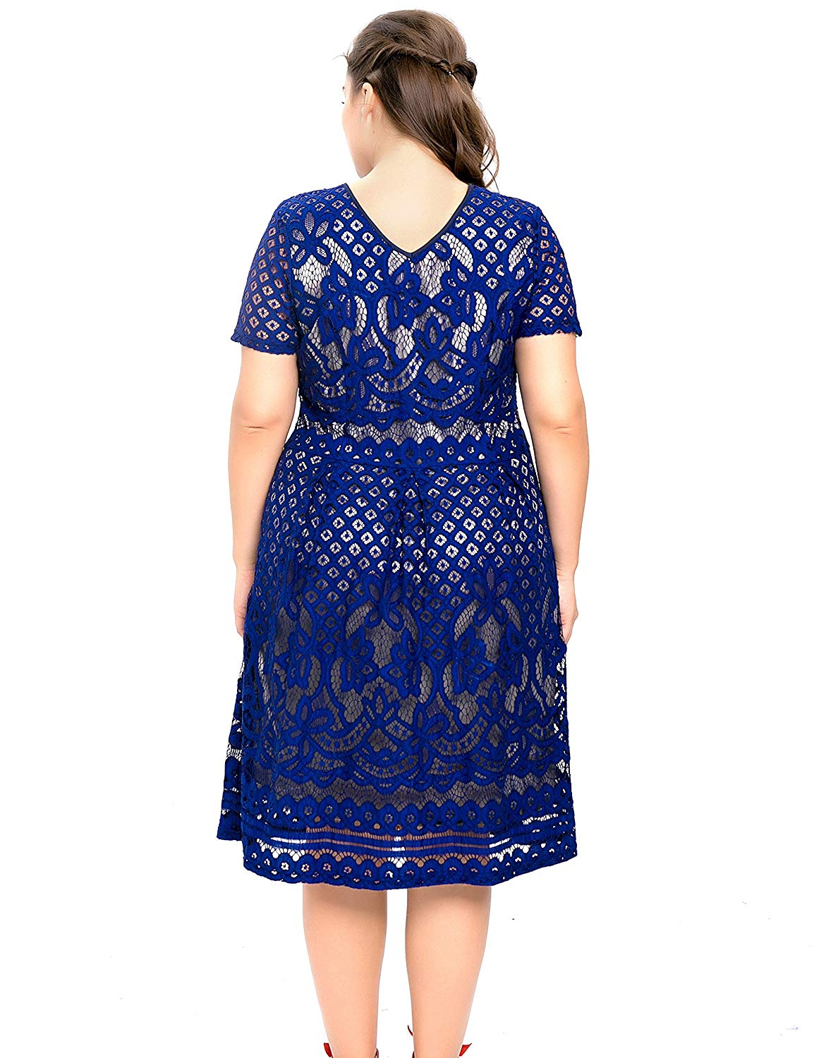 2e496010c19aa3 Chicwe Women's Plus Size Lined Floral Lace Skater Dress-Knee Length Casual  Party Cocktail Blue
