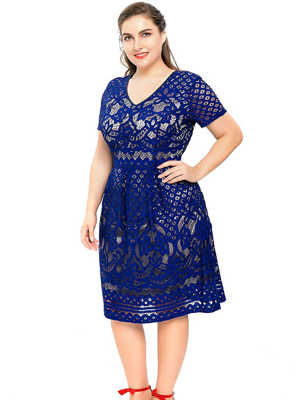 Chicwe Women's Plus Size Lined Floral Lace Skater Dress-Knee Length Casual Party Cocktail Blue Dress