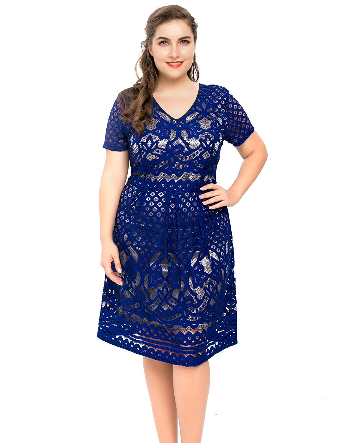9e1f777a7f1e Chicwe Women's Plus Size Lined Floral Lace Skater Dress-Knee Length Casual  Party Cocktail Blue