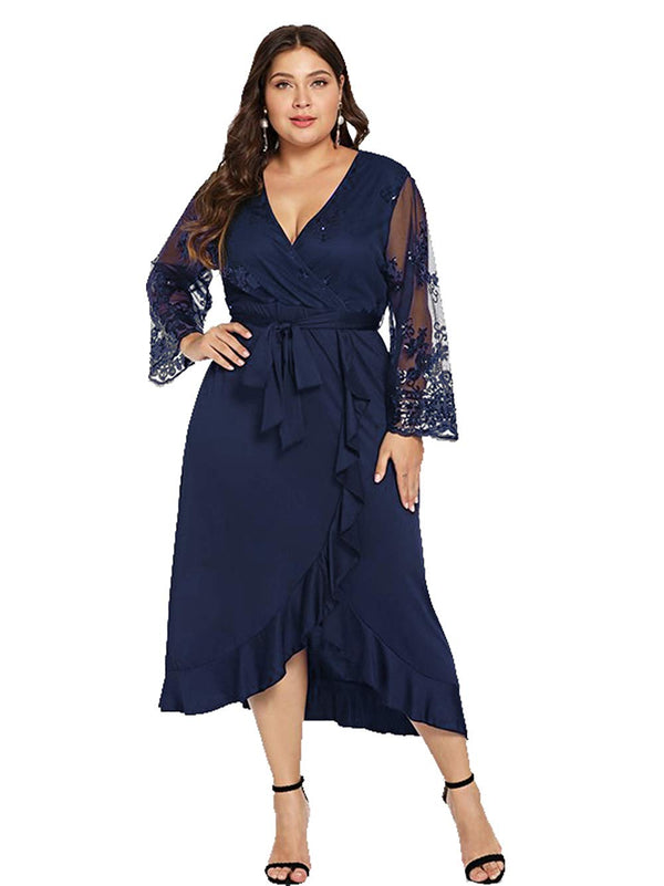 ESPRLIA Women's Plus Size V-Neck Stretch Lined Floral Flare Sequin Casual Party Dress Plus Size Party Dresses