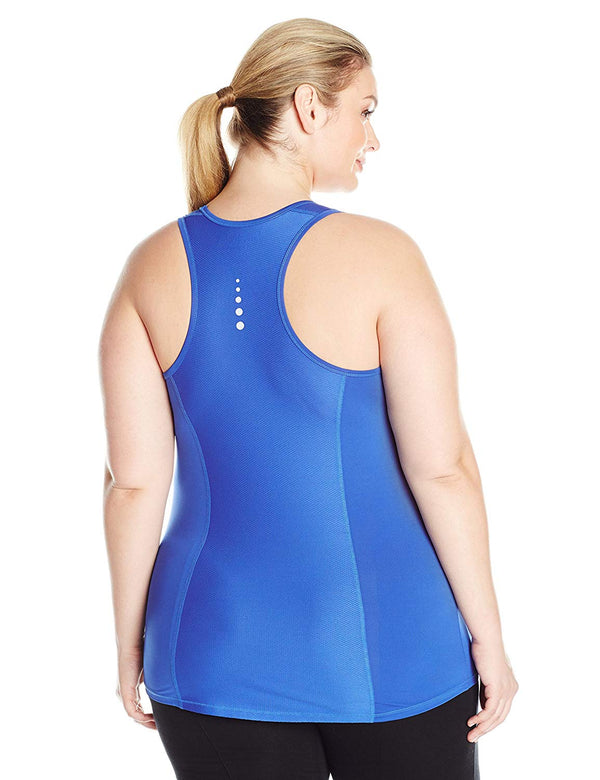 Fit for Me by Fruit of the Loom Women's Breathable Shirred Performance Mesh Tank Blue