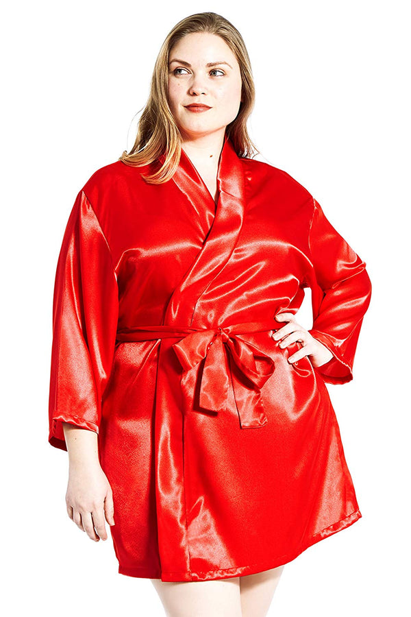 Jovannie Women's Satin Plus Size Kimono Robe With Matching Sash Short Length Red Plus Size Dressing Gown For Curvy Women