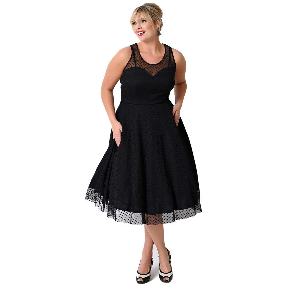 KILOLONE Womens Plus Size Dresses Christmas Party Vintage Retro Bridesmaid  Evening Lace Sleeveless Cocktail Dress