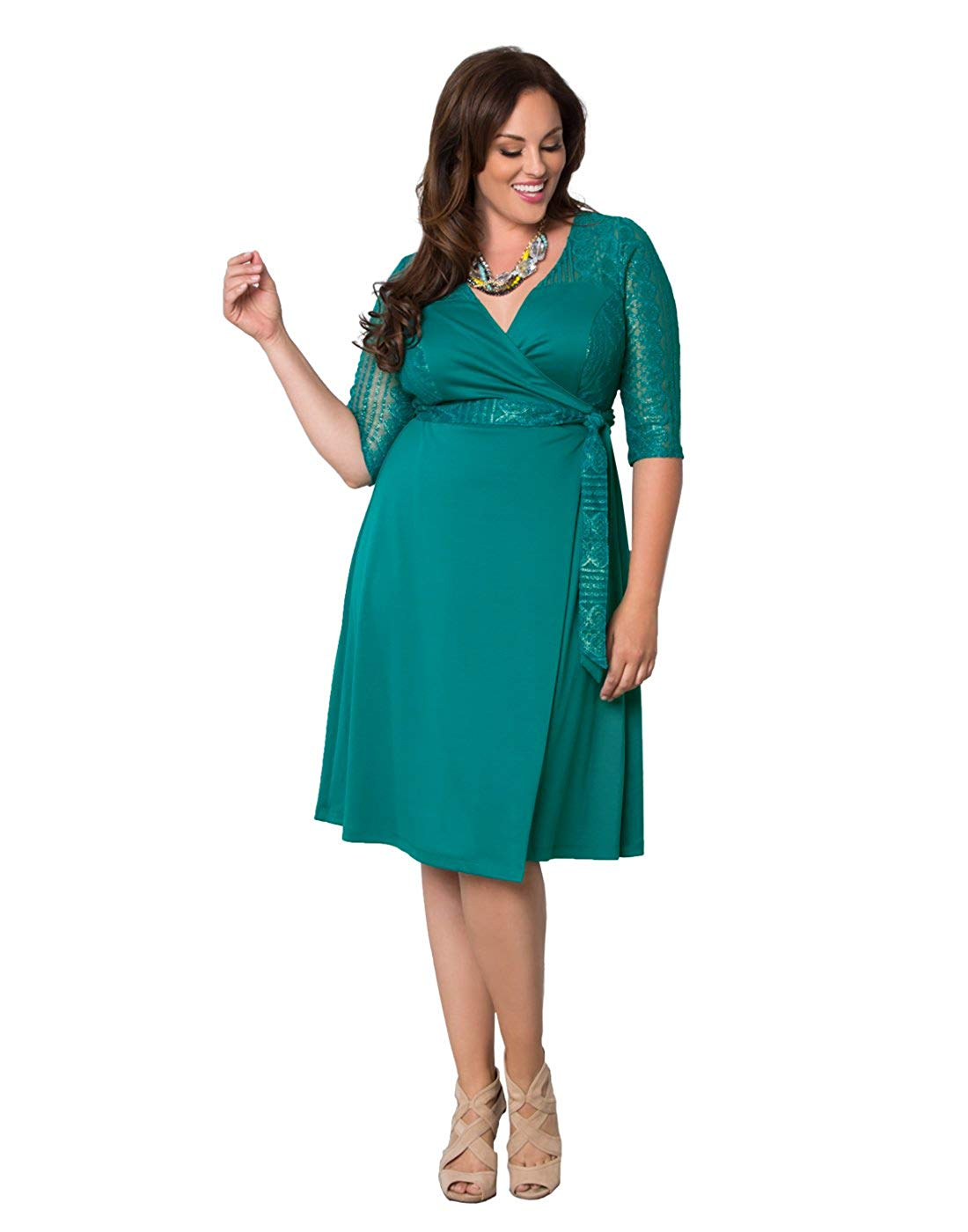 2f037e780341c2 Kiyonna Women's Plus Size Ravishing Lace Wrap Dress | Plus Mill ...