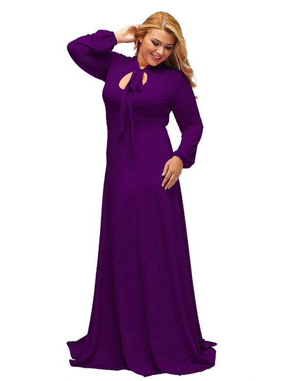 Lalagen Women's Vintage Long Sleeve Plus Size Evening Party Maxi Dress Gown For Curvy Women