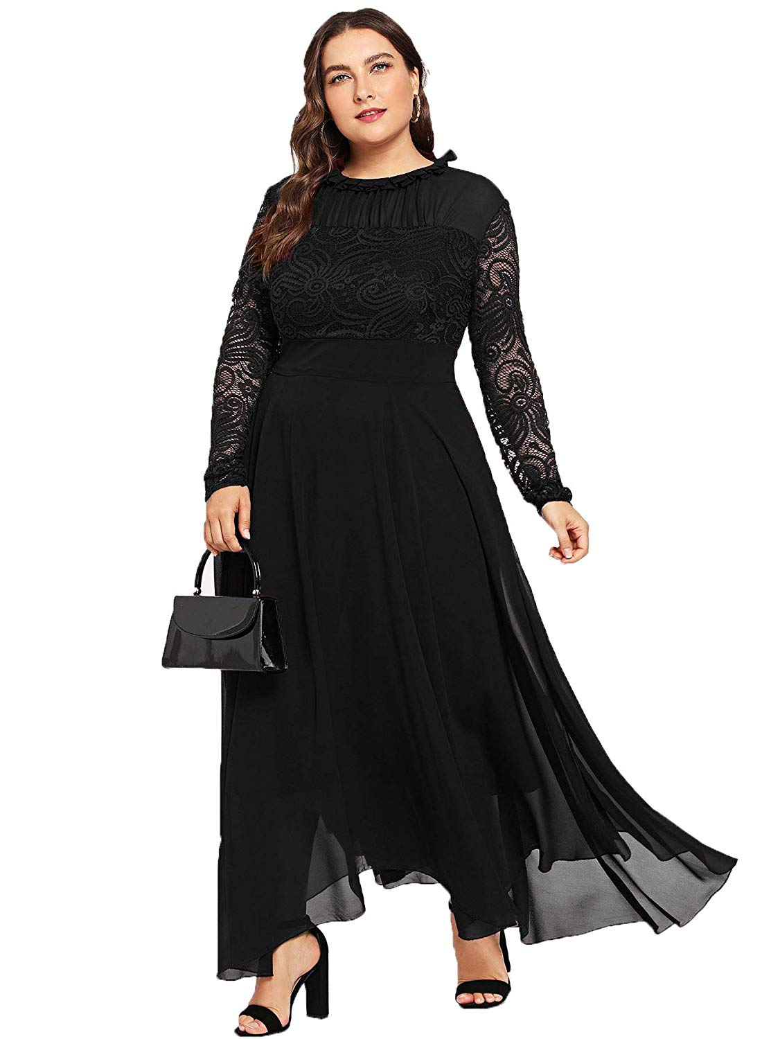Milumia Women\'s Vintage Floral Lace Long Sleeve Ruched Neck Flowy Long  Dress Plus Size Black Dresses