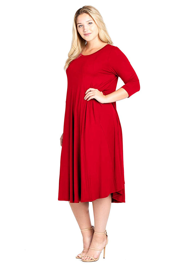 Modern Kiwi Women's Plus Size Long Sleeve Flowy Maxi Dress