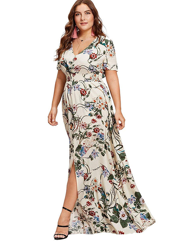 Romwe Women's Plus Size Floral Print Buttons Short Sleeve Split Flowy Maxi Dress