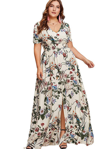 7697f9fe422 Romwe Women s Plus Size Floral Print Buttons Short Sleeve Split Flowy Maxi  Dress