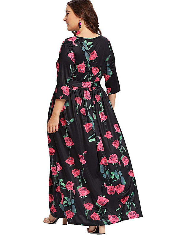 Romwe Women's Plus Size Floral Print 3/4 Sleeve Tie Waist Long Maxi Dress