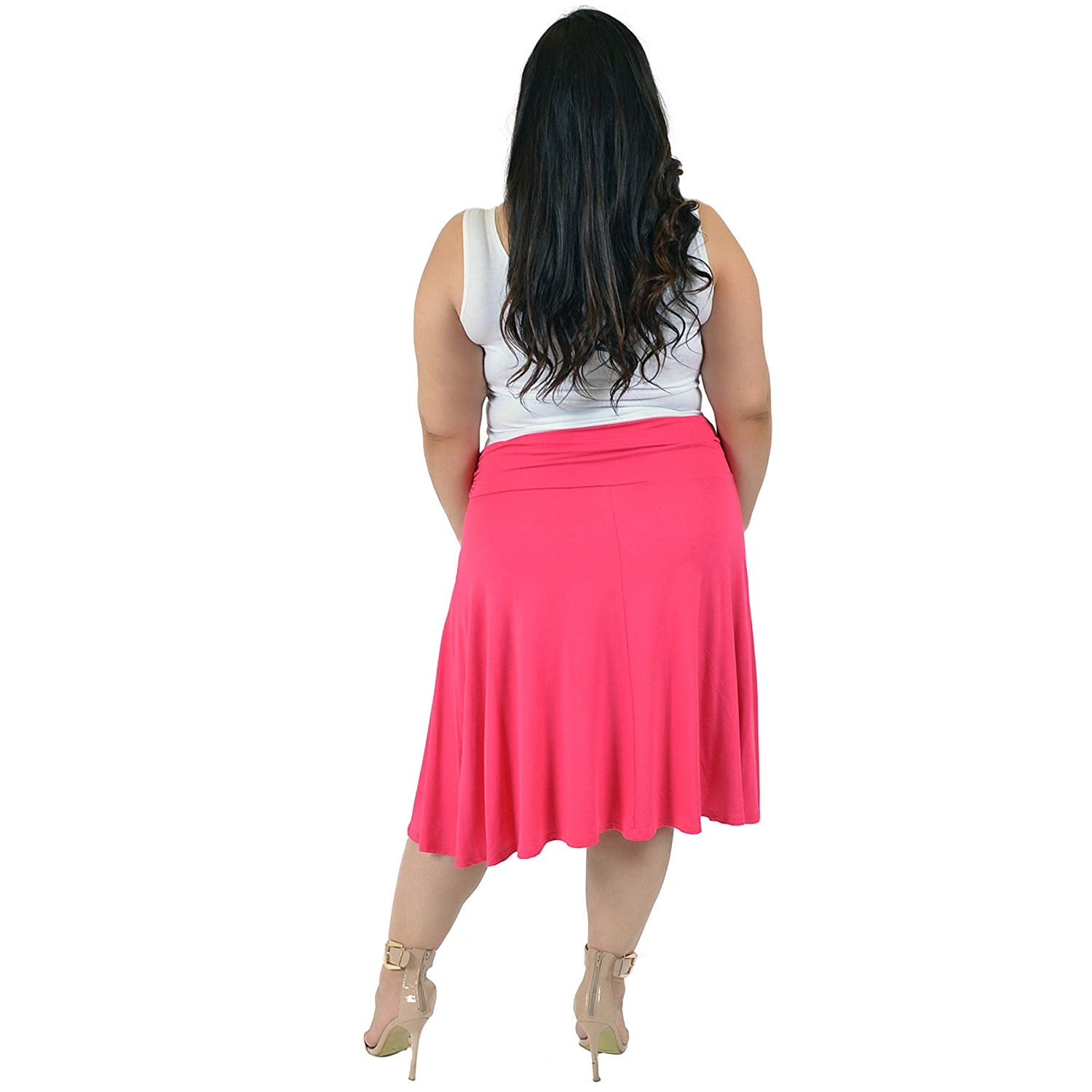 ab72f50ccb8 Stretch is Comfort Women s Plus Size Knee Length Flowy Skirt