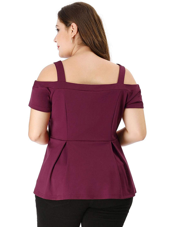 Women's Plus Size High Waist Sweetheart Red Peplum Cold Shoulder Top For Curvy Women