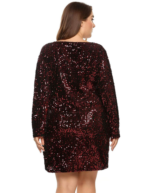Zeagoo Women's Plus Size Glitter Bodycon Sequin Cocktail Party Club Evening Mini Dress