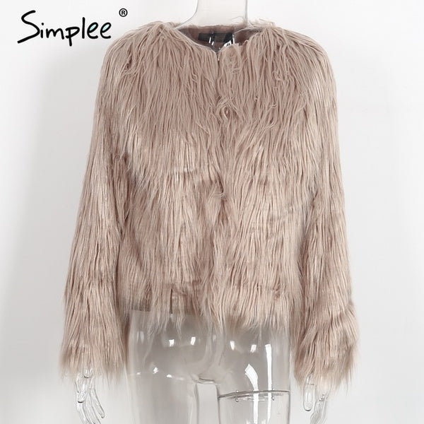 PlusMill Faux Fur Women Plus Size Jacket Coat Black Hairy O Neck Front Button Tassel Outerwear Winter Casual Long Sleeve Overcoat