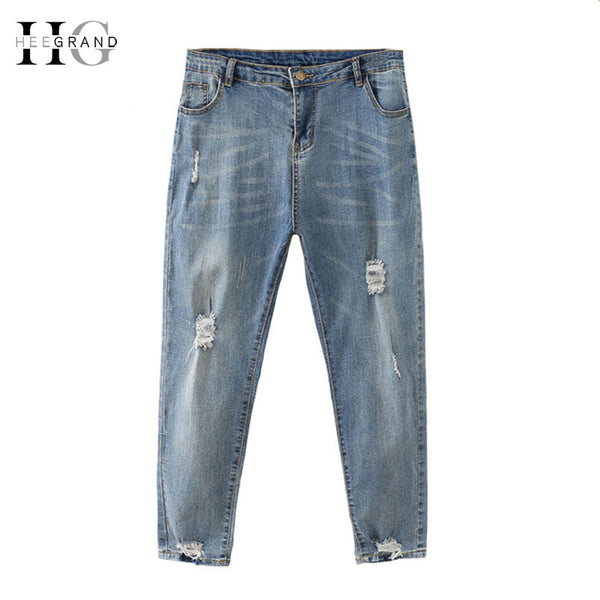 PlusMill Winter Vintage Jeans Women Plus Size 4xl Scratched  Mom Pants Loose Ankle-Length Ripped Denim Trousers Wkn611