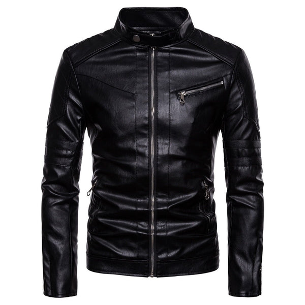 PlusMill Men's Plus Size Motorcycle Leather Jacket
