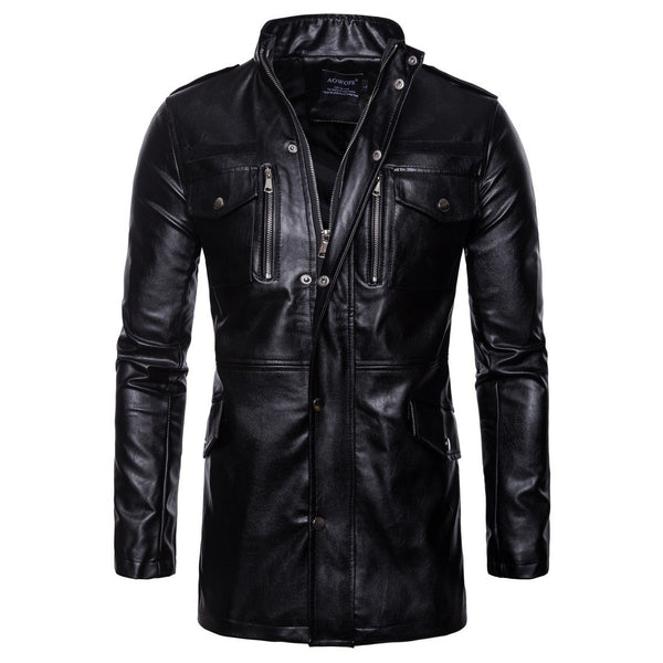 PlusMill Men's Plus Size Leather Jacket