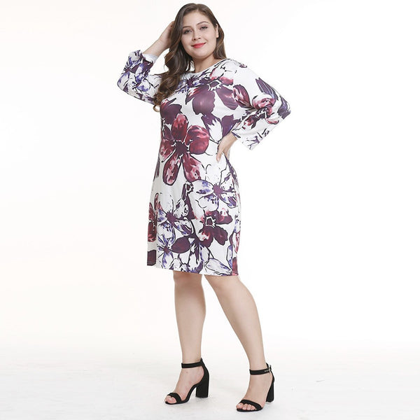 Women Casual O-Neck Plus Size Print Knee-Length Long Sleeve Evening Party Dress