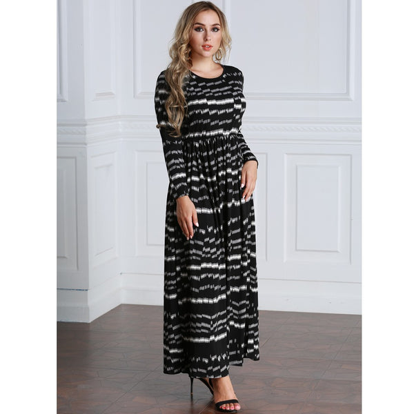 PlusMill Sexy Women Plus Size Printed Dress Big Size Round Neck Ankle-Length Long Maxi Dress Black