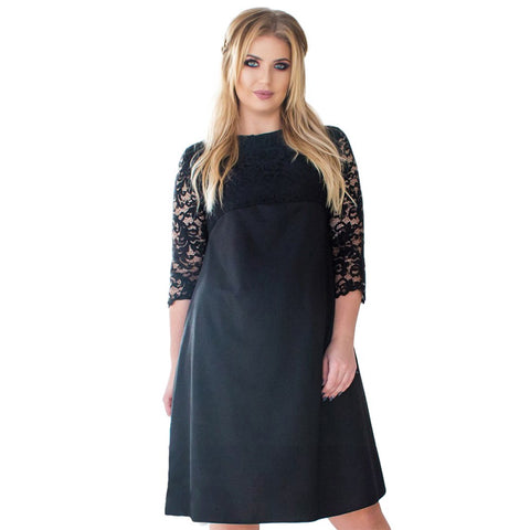 e63582b3e83ff PlusMill Fashion Women Plus Size Floral Lace Midi Dress Three Quarter  Sleeve Solid Large Size Dress
