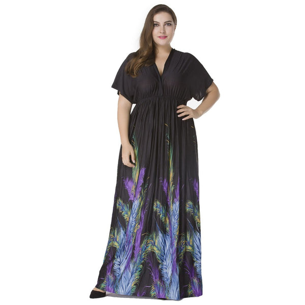 PlusMill Sexy Women Plunge V Neck Print Plus Size Dress Ruched Big Size Maxi Party Dress Black