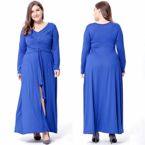 women-casual-long-sleeve-V-neck-split-long-maxi-party-dress-sundress-plus-size