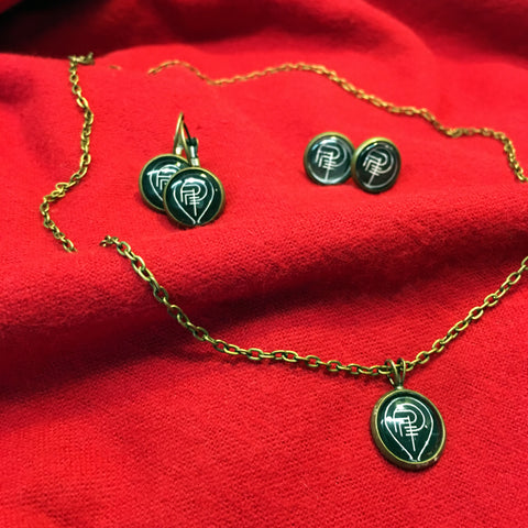 PREY FOR DAY SIGIL necklace/earring set (brass)